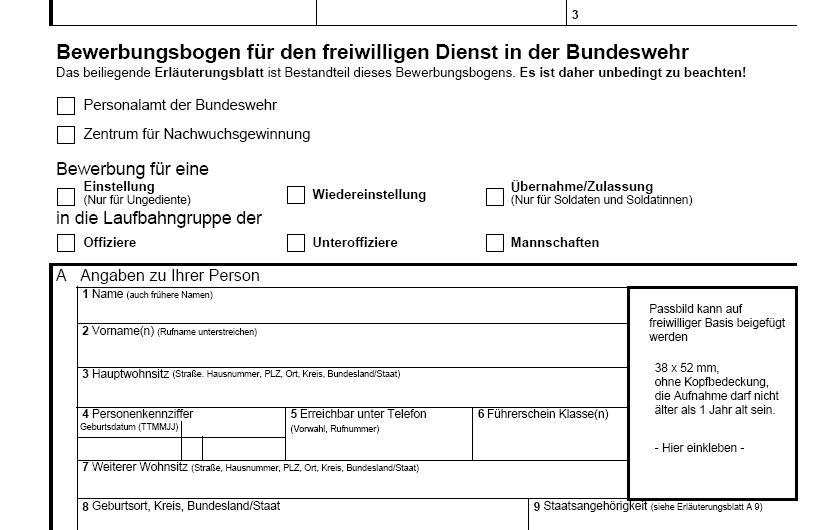 zuerst - Bewerbung Bundeswehr