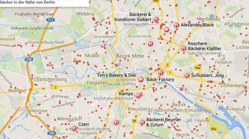Jeder rote Punkt ein Bäcker. Und das sind noch lange nicht alle