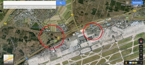 Bei Maps ist nix zu sehen: Weder Landebahn noch Terminal