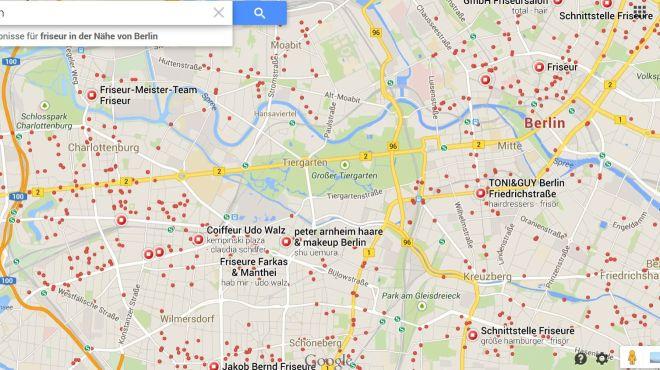 Jeder rote Punkt ein Friseur. Da fehlen aber noch ein paar...